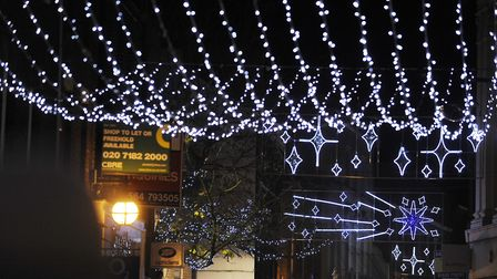 CAPTION; Photos of King's Lynn Christmas Lights Switch On 2009. Pic shows the lights in Lynn High St