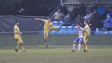 Action from Lowestoft Town's 3-0 defeat at Rushden & Diamonds. Picture: Shirley D Whitlow