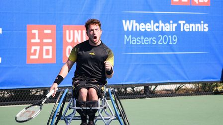 Alfie Hewett plays in the final of the Wheelchair Masters in Orlando on Tuesday. Picture: Shanaz Mah