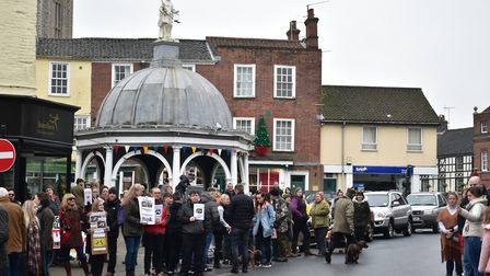 A handful of demonstrators protest against the annual Boxing Day hunt in Bungay, led by the Waveney