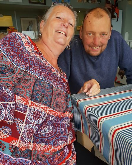 Sue Weaver with partner Mark Howes from Hemsby. Photo: Sue Weaver
