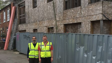 Akis Chrisovelides and Mark Bailey outside the property on Rosary Road, Norwich. PHOTO: M&A Norfolk