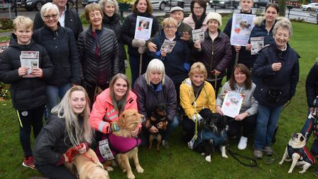 Rita Potter, front fourth left, who started the group when her dog Daisy was stolen, and Emma Downes
