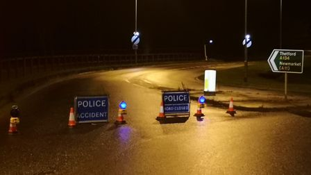 Emergency Services were called to a two-vehicle collision on the A134 between Thetford and Mundford.