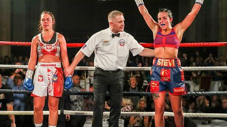 Delight for Stevi Levy as she wins her first pro fight, beating Bojana Libiszewska Picture: Mark Hew