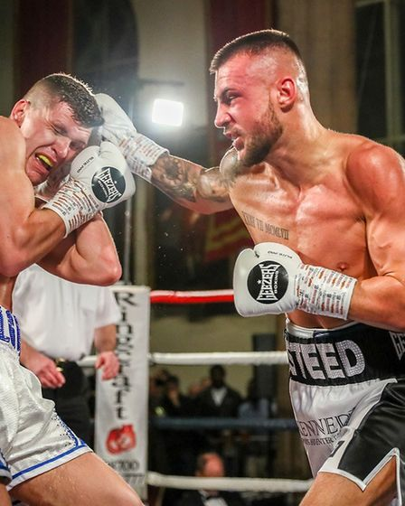 Joe Steed on his way to victory over Kristaps Zulgis in Norwich Picture: Mark Hewlett