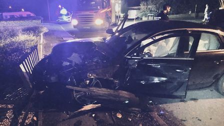 A car which was involved in a hit and run in Borrowdale Drive, Sprowston. Picture: Colin Lang