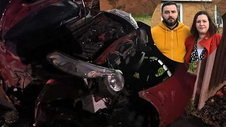 James Doyle and Sam Gravener (inset) and their Nissan Juke which was destroyed in a hit and run inci