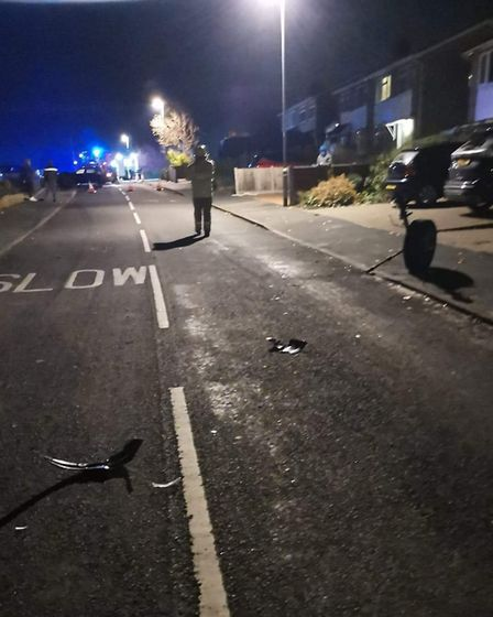 The aftermath of a hit and run incident in Borrowdale Drive in Norwich. Picture: Sam Gravener