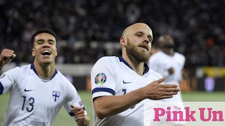 The winning moment for Pukki. Pic: Pink Un/Archant