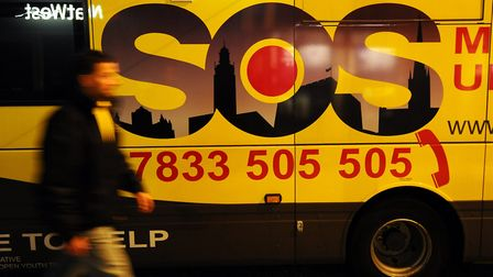SOS Bus on Prince of Wales Road, Norwich on a Saturday night. Photo: James Bass