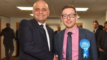 Sajid Javid met business owners and staff at the Norfolk Cleaning Group. Sajid and Duncan Baker. Pic
