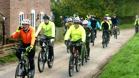 Some of the 300 who tackled the 25 mile route set off from Butley Village Hall. Picture: Fergus Muir