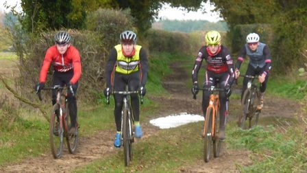 Young National Trophy star Joseph Smith, from Norwich (yellow helmet) was one of those taking part