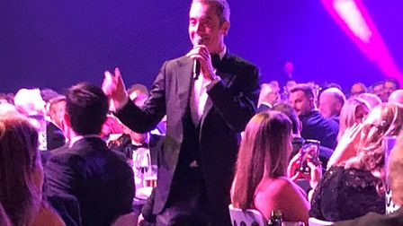 Actor James Nesbitt singing Frank Sinatra at the Norfolk Business Awards. Pic: submitted