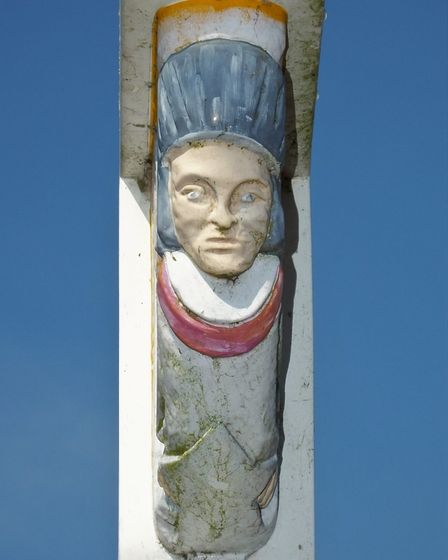 A detail from the Diss town sign. Picture: Dr Andrew Tullett