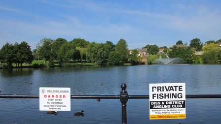 The Diss town sign is near the town's famous mere. Picture: Dr Andrew Tullett