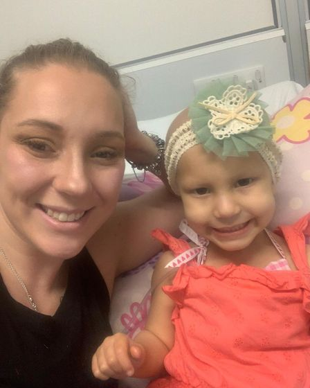 Wendy Lambert with daughter Esme, who was diagnosed with a brain tumour in 2018. Picture: Supplied b