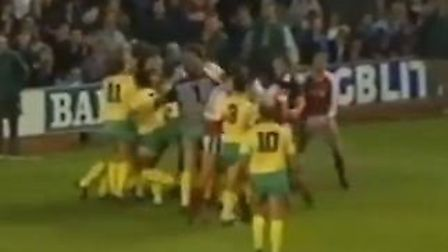 A brawl erupts after Arsenal's winning penalty in their 4-3 win over Norwich City in November 1989