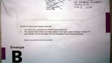 Voters in Norwich have been sent postal vote packages with Worthing Borough Council marked on them.