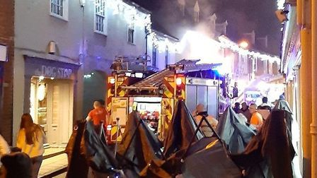 A fire broke out at a takeaway in Red Lion Street in Aylsham shortly before the town's Christmas lig