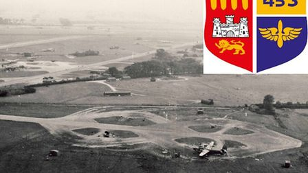 Old Buckenham Airfield photographed during the Second World War when it was the base of the US 453rd
