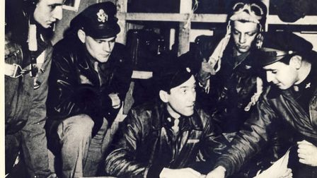 Jimmy Stewart, Operations Officer with the 453rd Bombardment Group, pictured with colleagues at Old