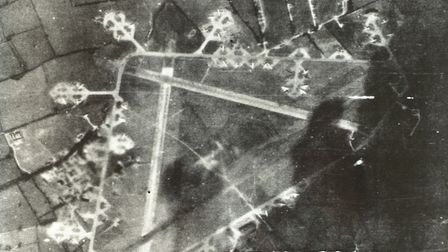Aerial photograph of Old Buckenham Airfield taken in 1944. The runway lay-out is to be recreated in