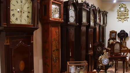 Antique clocks and scientific instruments on display at Paul Nunn's showrooms at Wacton. Picture: DE