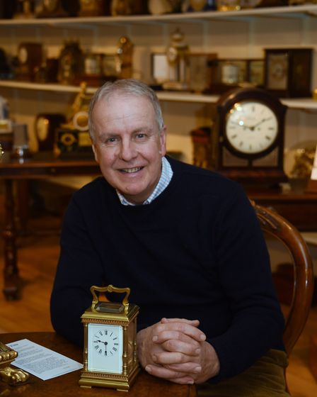 Antique clock and scientific instrument collector, Paul Nunn, in one of his showrooms at Wacton. Pic