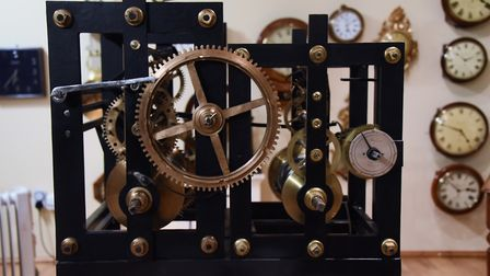 Restoration work still in progress on this Norwich-made turret clock by Benjamin Russell, in one of