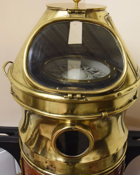 A ship's binnacle compass, dated around 1900. Picture: DENISE BRADLEY