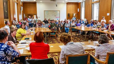 Disabled people, their parents and carers at a public meeting at County Hall. Pic: Philip Williams.