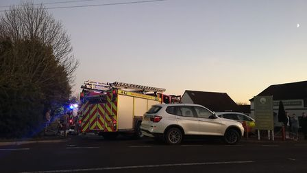 Firefighters were called to a building fire in Tasburgh shortly before 3.30pm on Monday. Picture: St