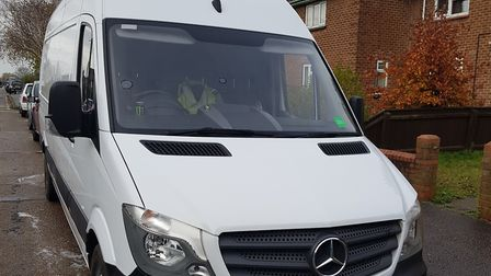 A photo of the Mercedes Sprinter van, which was stolen from Notley Road in Kirkley, Lowestoft. Pictu