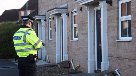 Police at the scene of the stabbing in Burdock Close at Wymondham. Picture: DENISE BRADLEY