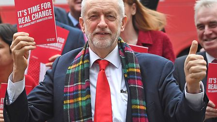 Labour Party leader Jeremy Corbyn arrives for the launch of his party's manifesto in Birmingham. Pi