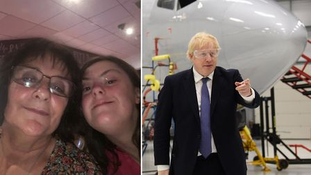 Prime minister Boris Johnson was heckled by Marilyn Heath on his visit to the Aviation Academy on Tu