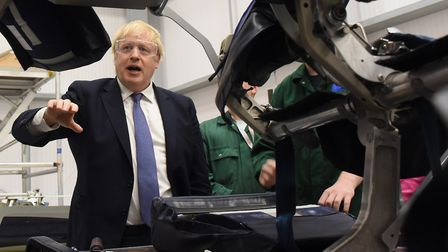 Prime minister Boris Johnson visits the Aviation Academy in Norwich. Picture: DENISE BRADLEY