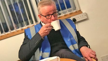 Michael Gove enjoys a cup of tea whilst visiting Oyster Yachts in WroxhamPicture: Neil Perry / Arch