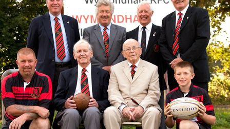 Left to right, Front: Marty Jermyn (senior player), John Simms (founder member), Stan Kelly (founde
