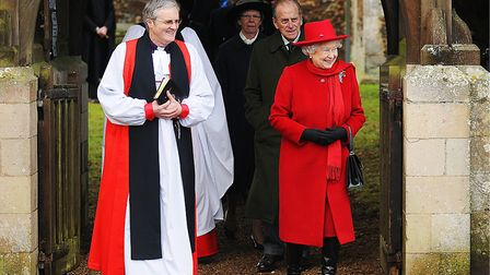 Royals at Wolferton Church. Pictured: The Queen and the Duke of Edinburgh leaving after morning serv