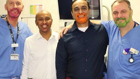 Consultant bowel cancer surgeon Vamsi Velchuru and colleagues at the James Paget University Hospital