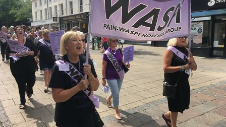 WASPI women taking part in a previous demonstration in Norwich city centre. Picture: Dominic Gilbert