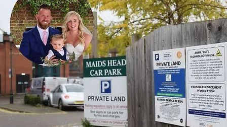 Lewis Taylor is being taken to court over three minutes of parking. Pictured with wife Nikki and son