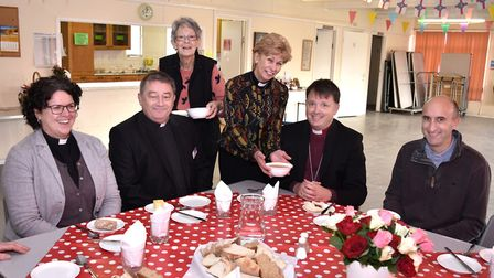 A visit by Bishop Graham Usher to the Lothingland Deanery. Lunch and meeting with clergy at Kessingl
