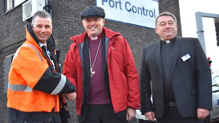 A visit by Bishop Graham Usher to the Lothingland Deanery. At the Port of Lowestoft. Pictures: Mick