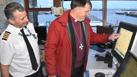 A visit by Bishop Graham Usher to the Lothingland Deanery. At the Port of Lowestoft to see the Bascu