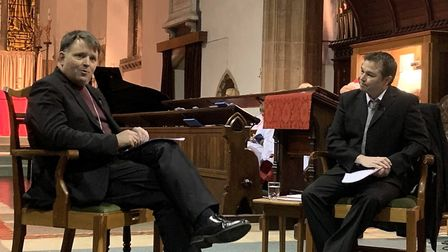Bishop Graham is interviewed by Mark Boggis, senior reporter at The Journal and Eastern Daily Press,