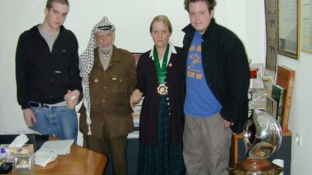 Palestinian leader, the late Yasser Arafat seen here with John''s family. Sons Ben and Ed and wife A
